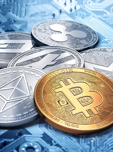 stack of cryptocurrencies: bitcoin, ethereum, litecoin, monero, dash, and ripple coin together, 3D rendering. New virtual money.